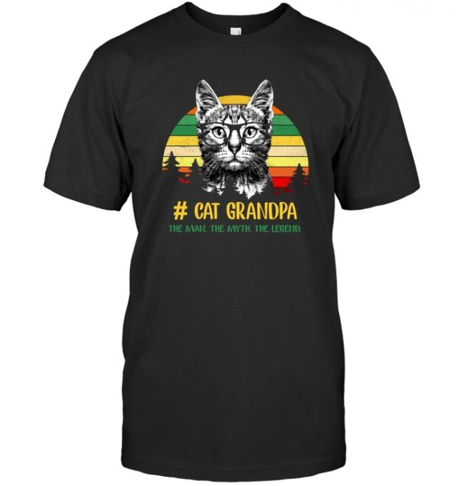 Vintage cat grandpa the man the myth the legend T shirt, father's day gift tee