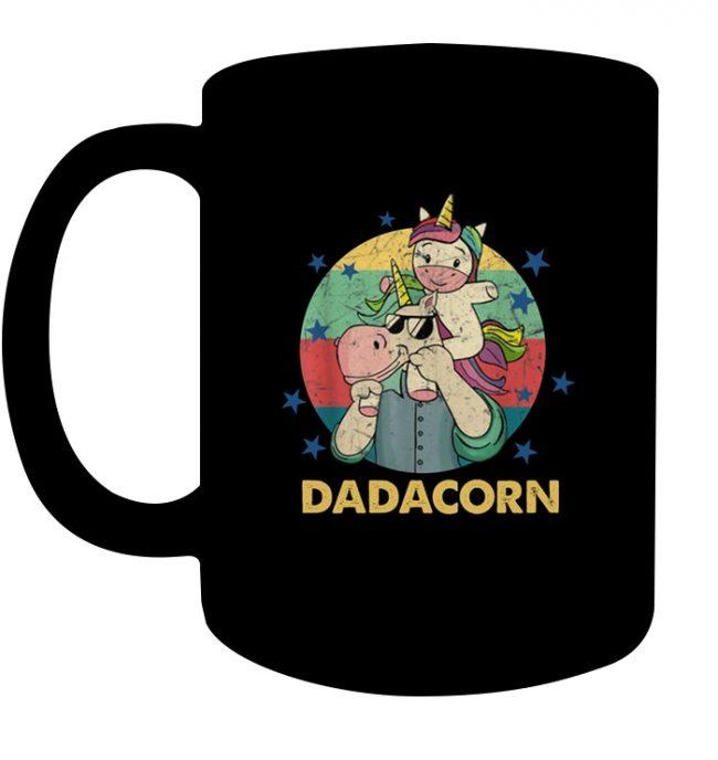 Dadacorn Dad And Baby Unicorn Vingtage Father's Day Gif Black Coffee Mug