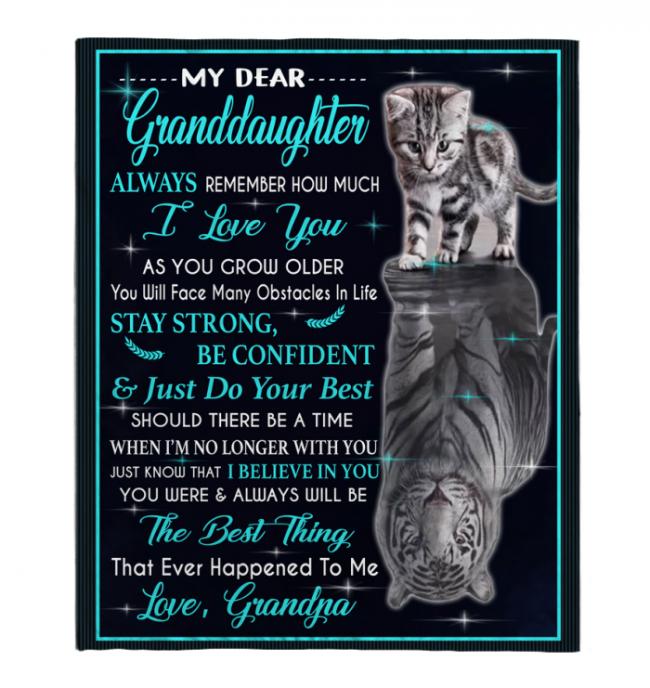 My Dear Granddaughter Always Remember How Much I Love You Blankets Gift From Grandpa Cat Tiger Kitten Black Plush Fleece Blanket