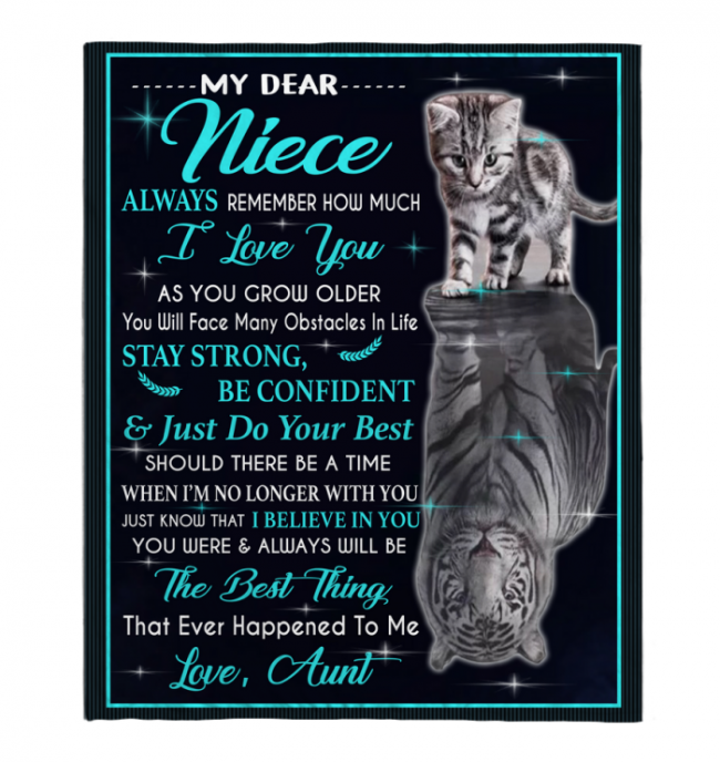My Dear Niece Always Remember How Much I Love You Blankets Gift From Aunt Cat Tiger Kitten Black Plush Fleece Blanket