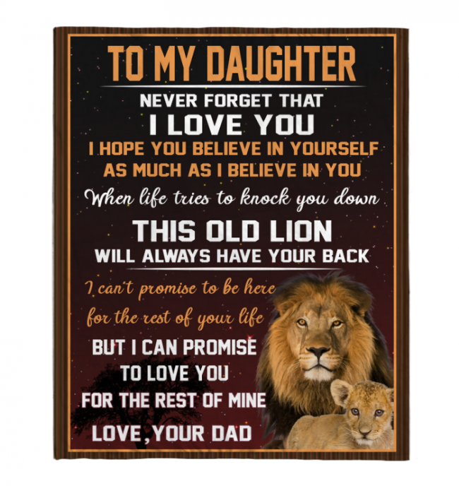 Never Forget That I Love You My Daughter Dad Gift For Daughter Lion Black Fleece Blanket