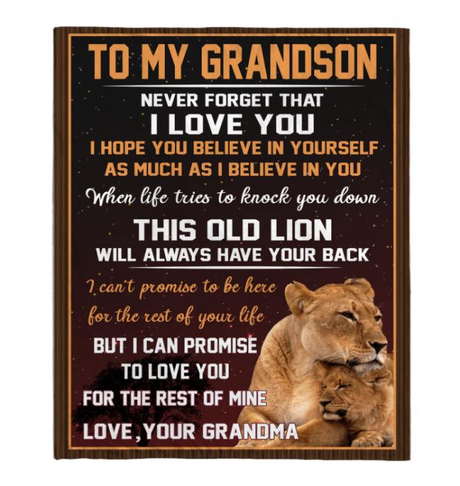 Never Forget That I Love You My GrandSon Grandma Gift For Grandson Lion Black Fleece Blanket