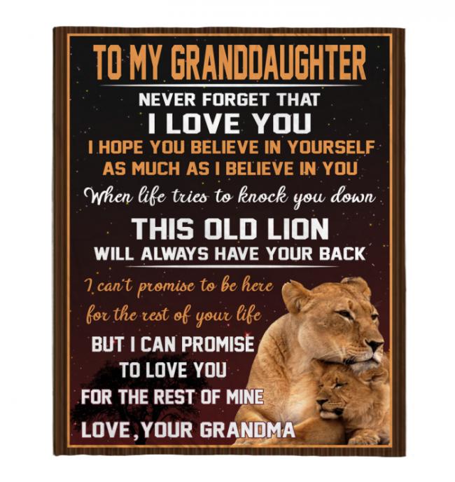 Never Forget That I Love You My Granddaughter Grandpa Gift For Granddaughter Lion Black Fleece Blanket