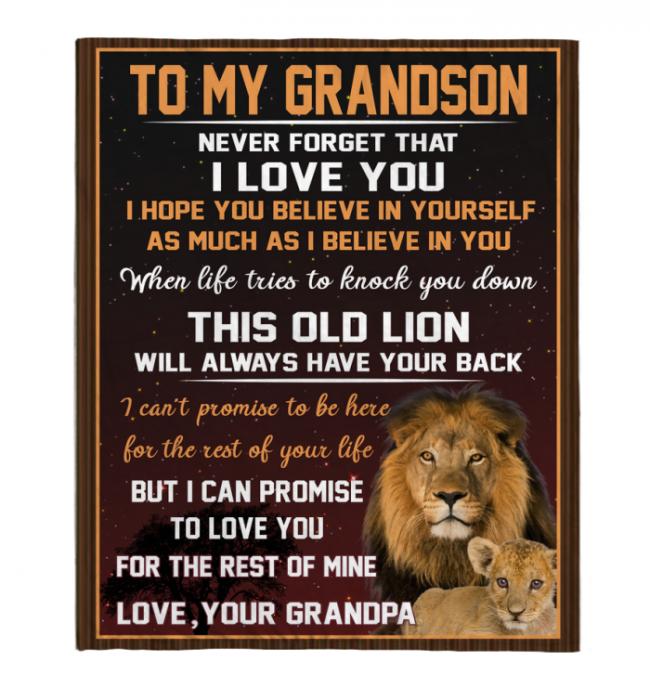 Never Forget That I Love You My Grandson Grandpa Gift For Grandson Lion Black FLeece Blanket