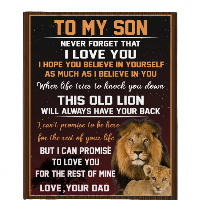 Never Forget That I Love You My Son Dad Gift For Son Lion Black Fleece Blanket