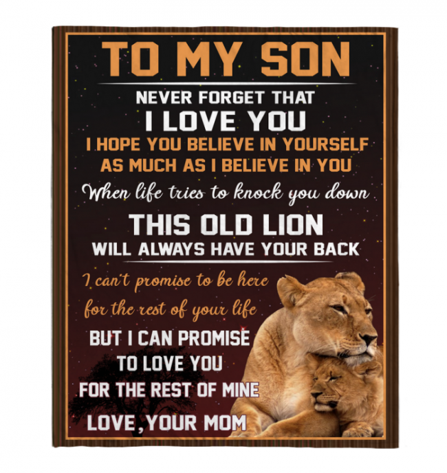 Never Forget That I Love You My Son Mom Gift For Son Lion Black Fleece Blanket