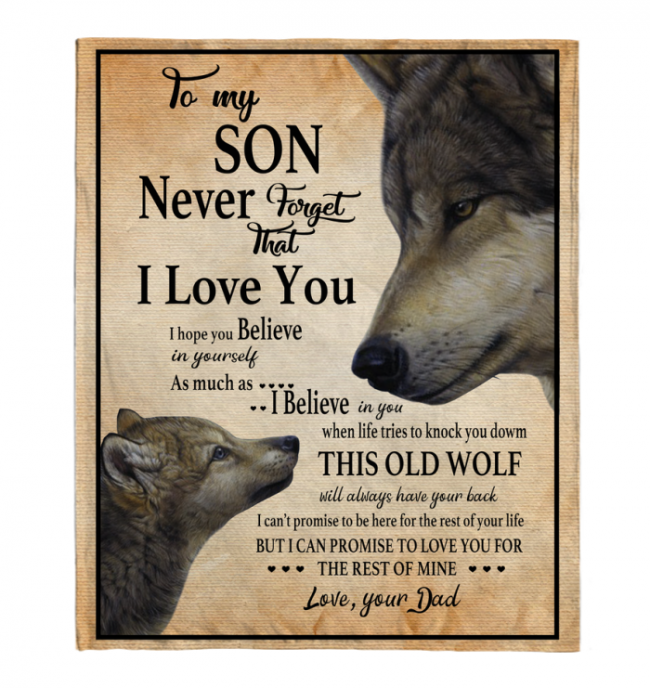 Never Forget That I Love You To MY Son Dad's Gift For Son Wolf Black Fleece Blanket