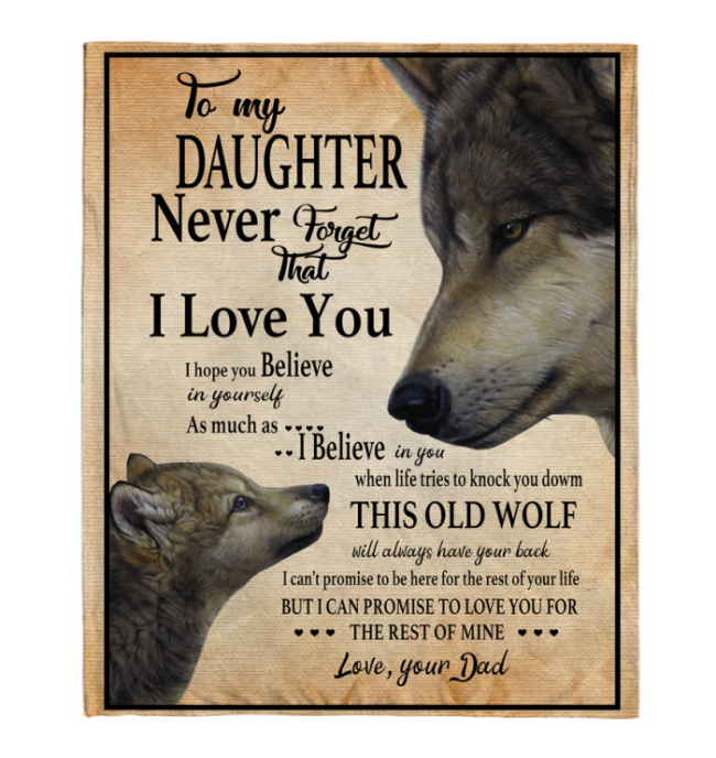 Never Forget That I Love You To My Daughter Dad's Gift For Daughter Wolf Black Fleece Blanket