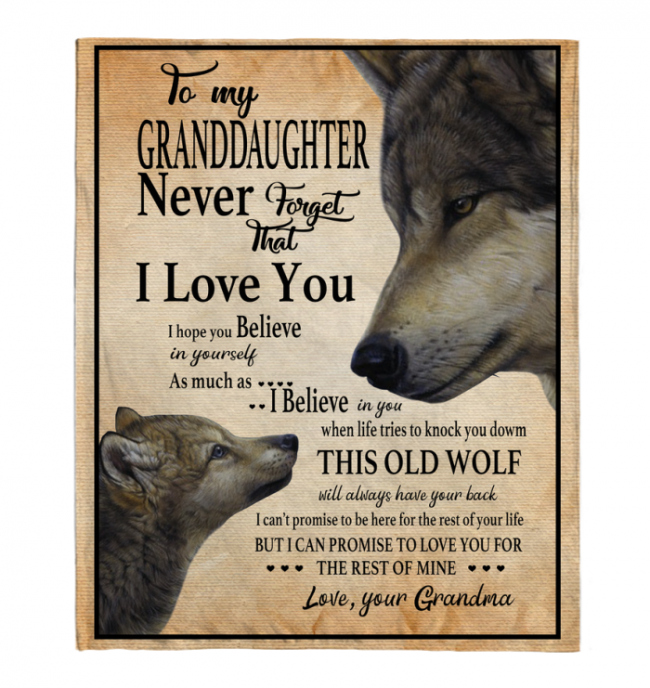 Never Forget That I Love You To My Granddaughter Grandma's Gift For Granddaughter Wolf Black Fleece Blanket