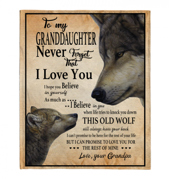 Never Forget That I Love You To My Granddaughter Grandpa's Gift For Granddaughter Wolf Black Fleece Blanket