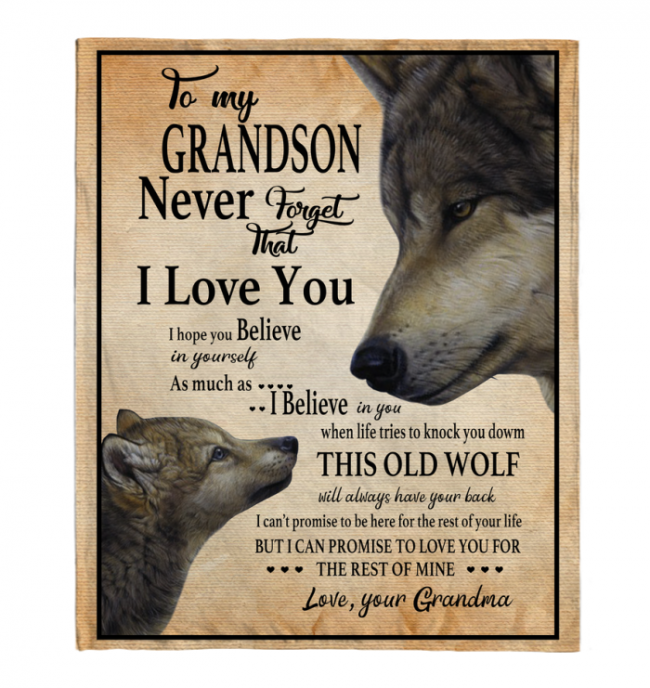 Never Forget That I Love You To My Grandson Grandma's Gift For Grandson Wolf Black Fleece Blanket
