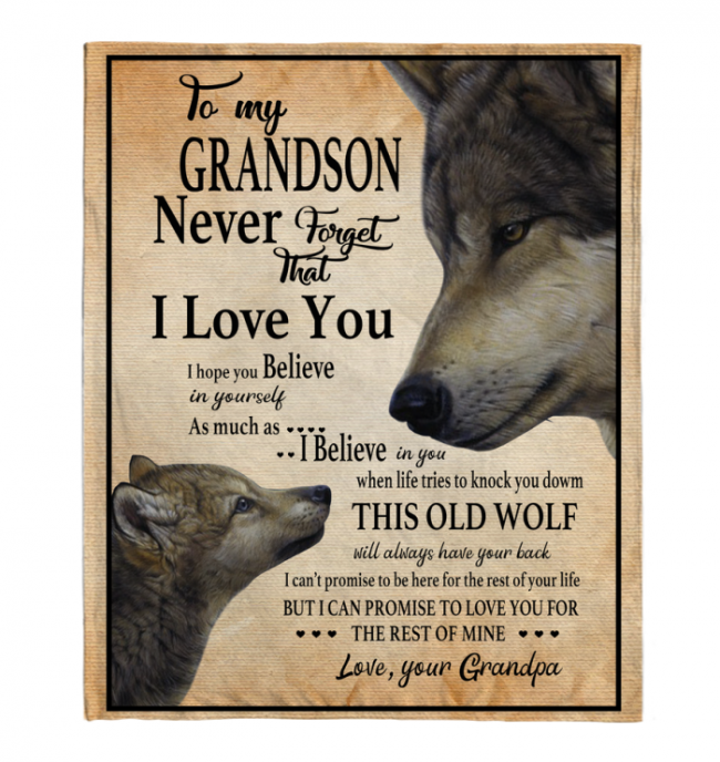 Never Forget That I Love You To My Grandson Grandpa's Gift For Grandson Wolf Black Fleece Blanket