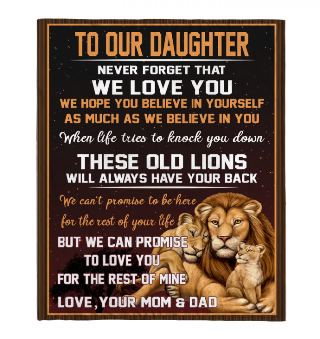 Never Forget That We Love You Our Daughter Mom Dad Gift For Daughter Lions Black Fleece Blanket