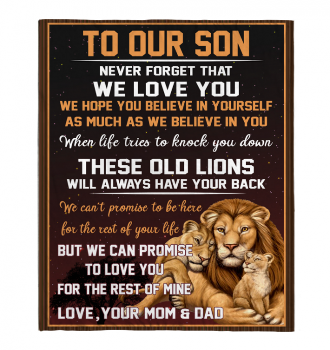 Never Forget That We Love You Our Son Mom Dad Gift For Son Lions Black Fleece Blanket