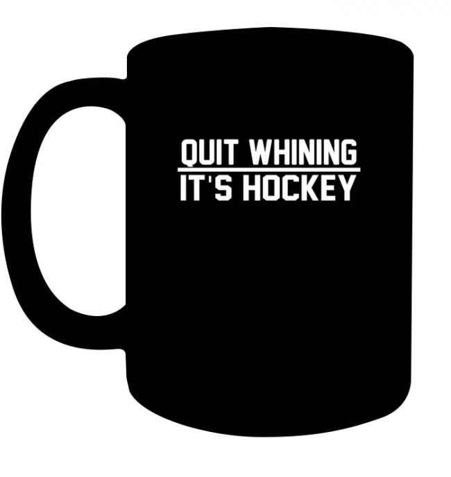 Quit Whining It's Ice Hockey Shirt Funny Beer League Black Coffee Mug