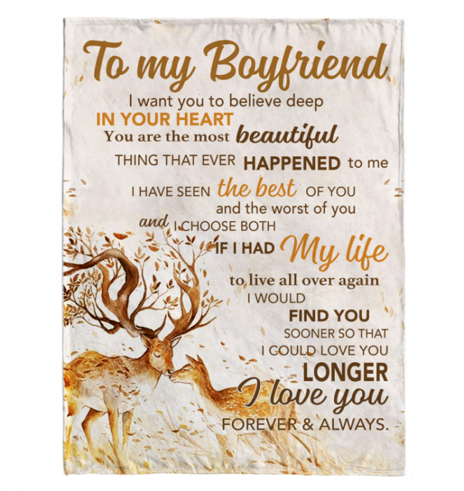 To My Boyfriend I Love You Forever And Always Deer Blankets Gift From Girlfriend White Plush Fleece Blanket