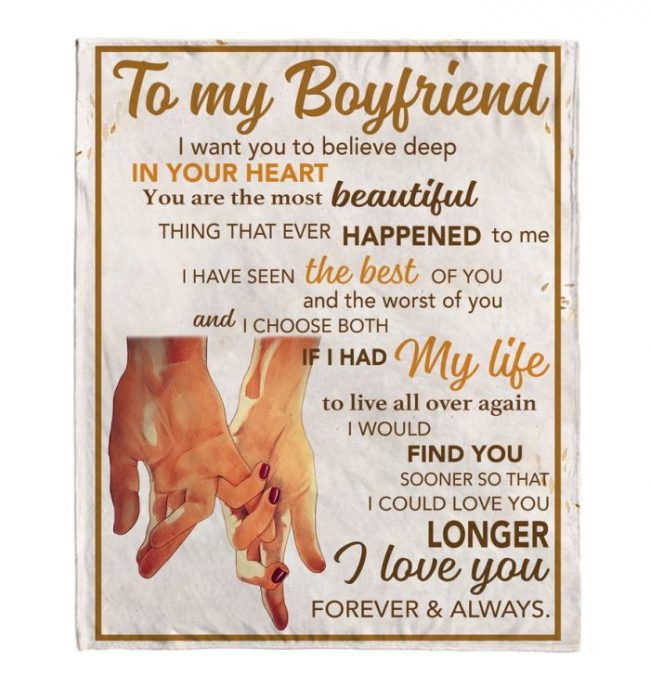 To My Boyfriend I Love You Forever And Always Hands Blankets Gift From Girlfriend White Plush Fleece Blanket