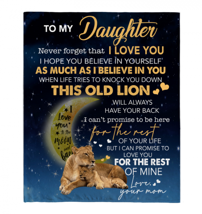 To My Daughter Never forget I Love You Mom Gift For Daughter Lion Black Fleece Blanket