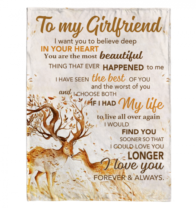 To My Girlfriend I Love You Forever And Always Deer Blankets Gift From Boyfriend White Plush Fleece Blanket