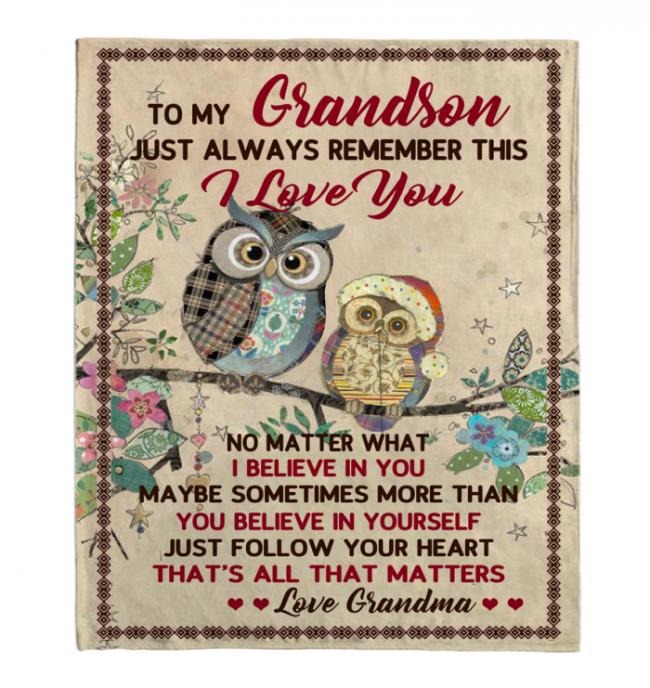 To My Grandson I Love Believe In You Blankets Owl Gift From Grandma Black Plush Fleece Blanket