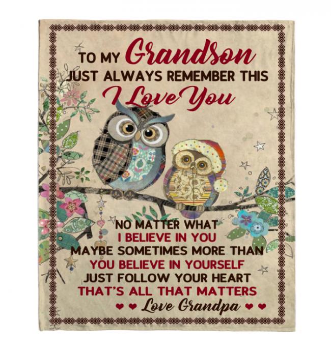 To My Grandson I Love Believe In You Blankets Owl Gift From Grandpa Black Plush Fleece Blanket