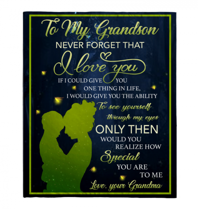 To My Grandson Never Forget That I Love You Blankets Gift From Grandma Black Plush Fleece Blanket