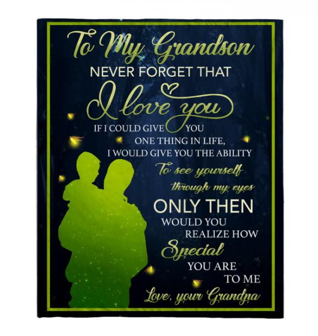 To My Grandson Never Forget That I Love You Blankets Gift From Grandpa Black Plush Fleece Blanket