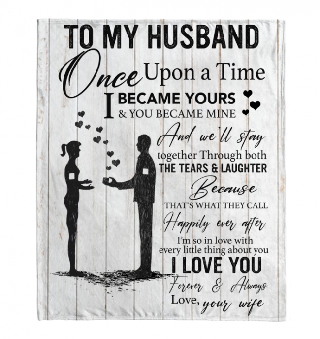 To My Husband Blankets Gift From Wife Love Valentines Day Black Fleece Blanket Design