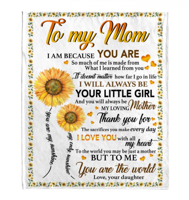 To My Mom I Love You Blankets Gift From Daughter Sunflower White Plush Fleece Blanket