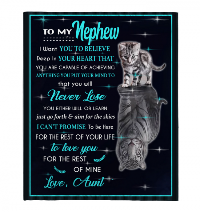To My Nephew I Love You Blankets Gift From Aunt Cat Tiger Kitten Black Plush Fleece Blanket