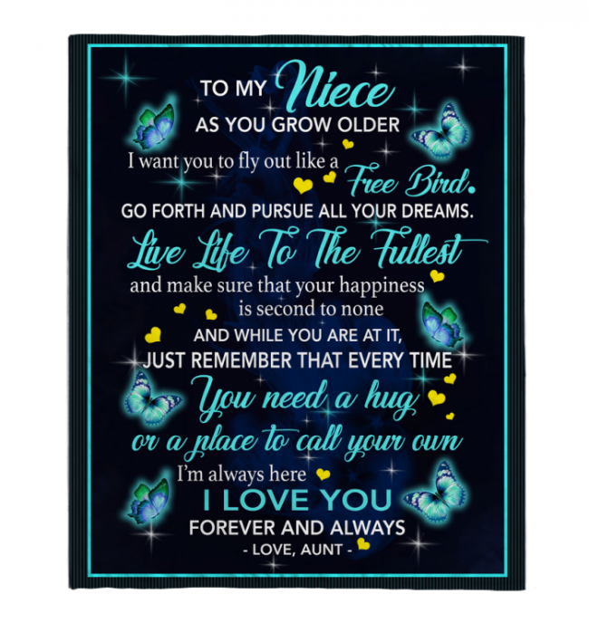 To My Niece I Love You Blankets Gift From Aunt Butterfly Black Plush Fleece Blanket
