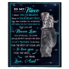 To My Niece I Love You Blankets Gift From Aunt Cat Tiger Kitten Black Plush Fleece Blanket