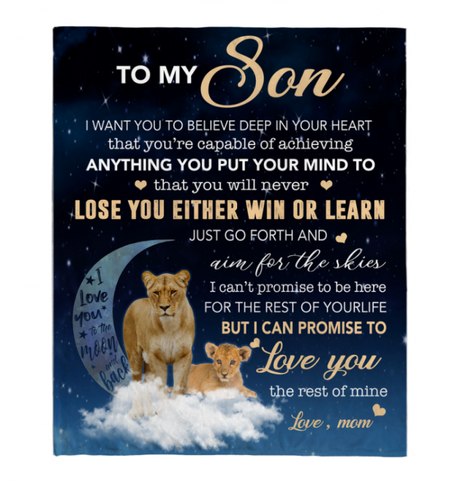 To My Son I Want You To Believe Deep In Your Heart Love Blankets Mom Gift For Son Black Fleece Blanket