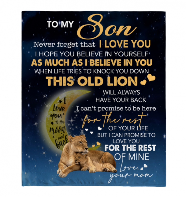 To My Son Never forget I Love You Mom Gift For Son Lion Black Fleece Blanket