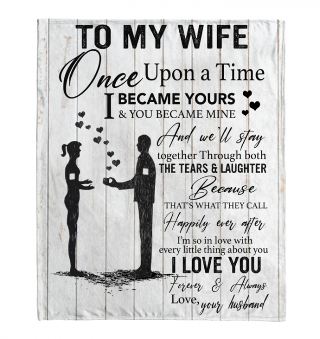 To My Wife Blankets Gift From Husband Love Valentines Day Black Fleece Blanket Design