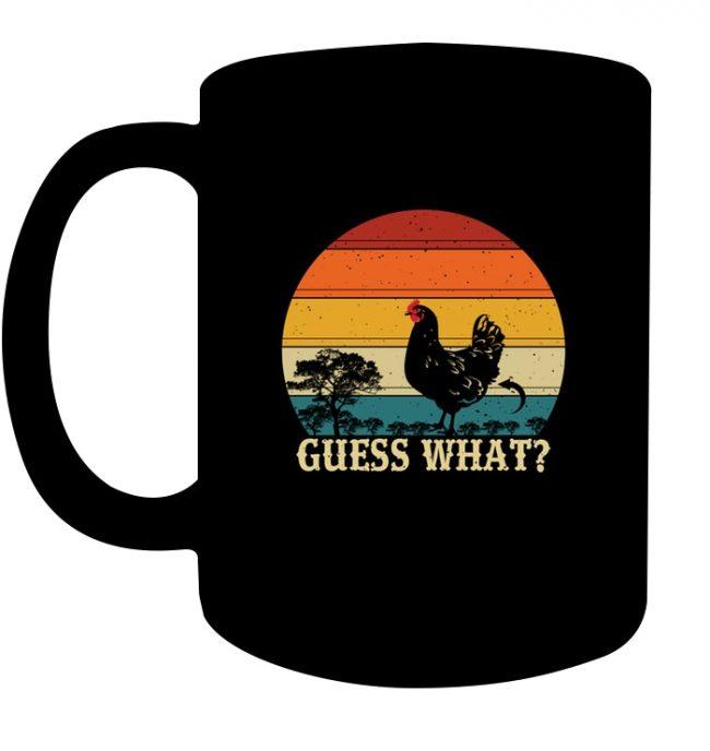 Vintage Guess What Chicken Butt Black Coffee Mug