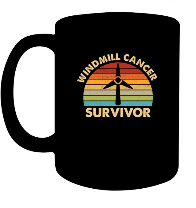 Windmill Cancer Survivor Vintage Black Coffee Mug