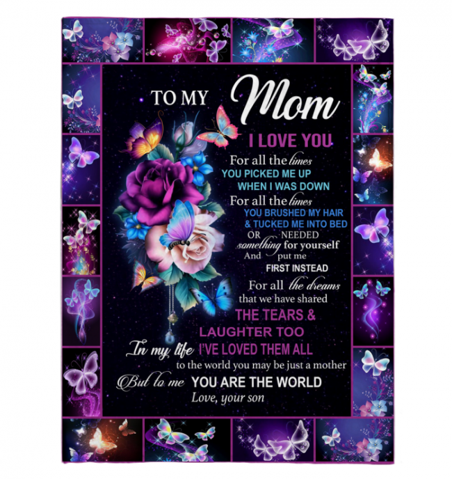 To My Mom I Love You For All The Times You Are My World Flower Butterfly Mothers Day Gift From Son Black Fleece Blanket