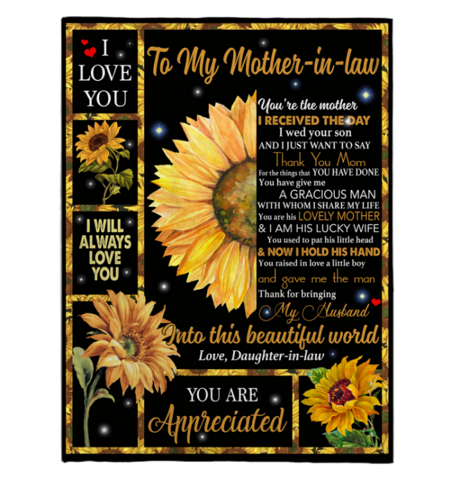 To My Mother In Law You Are Appreciated I Love You Mothers Day Gift From Daughter In Law Sunflower Funny Black Fleece Blanket