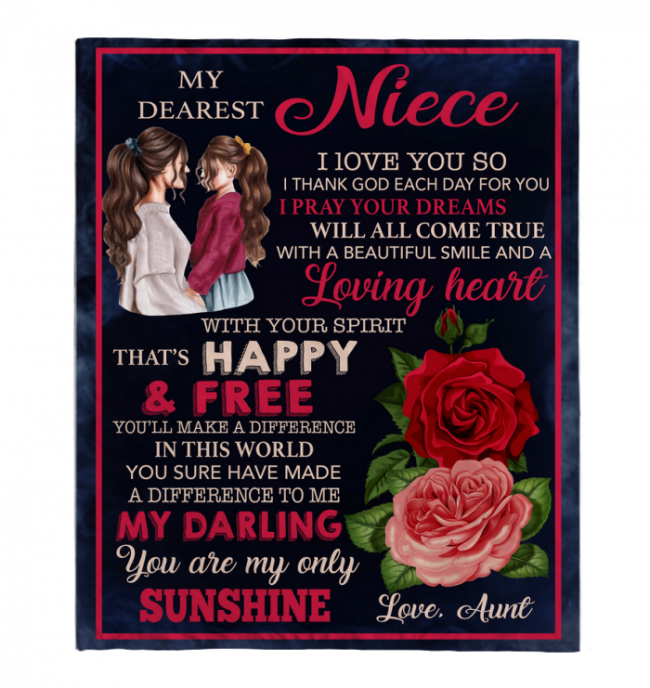 My Dearest Niece I Love You Blankets Gift From Aunt Rose Black Plush Fleece Blanket Design