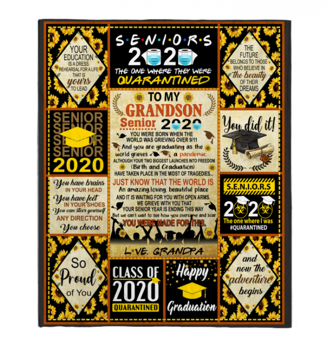 To My Grandson Senior 2020 You Were Born When The World Was Grieving Over 9 11 Gift From Grandpa Black Fleece Blanket