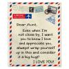 Dear Aunt I Love Appreciate You Old Vintage Envelope Fathers Day Gift From Niece Nephew Fleece Blanket
