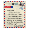 Dear Dad I Love Appreciate You Old Vintage Envelope Fathers Day Gift Fleece Blanket
