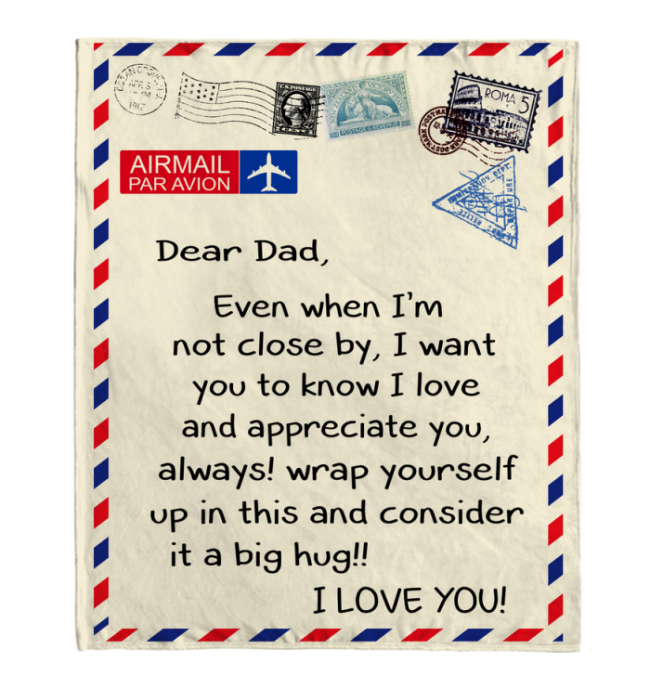 Dear Dad I Love Appreciate You Old Vintage Envelope Fathers Day Gift Fleece Blanket