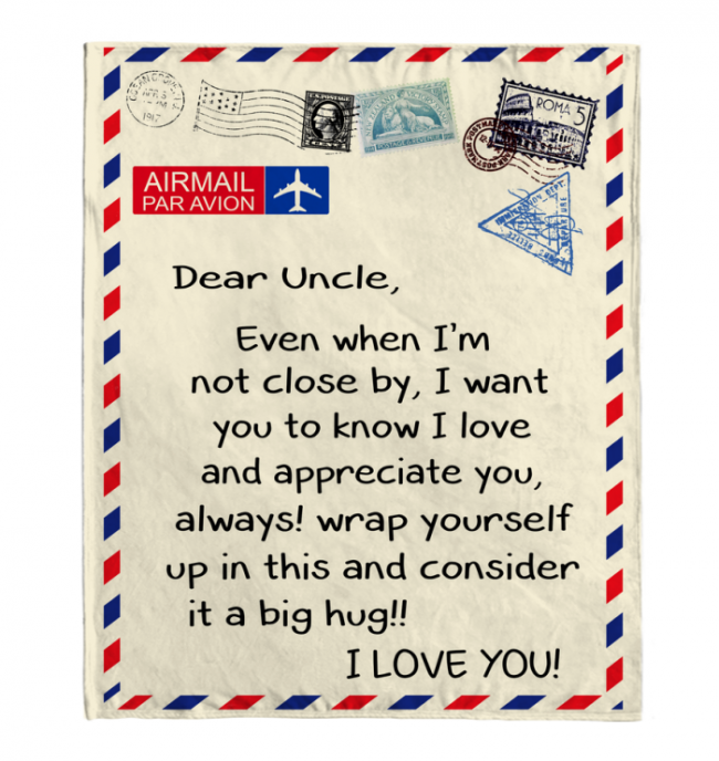 Dear Uncle I Love Appreciate You Old Vintage Envelope Fathers Day Gift From Niece Nephew Fleece Blanket