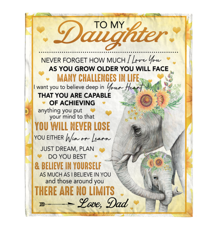 TO MY DAUGHTER NEVER FORGET HOW MUCH I LOVE YOU CUSTOM FLEECE BLANKET GIFT