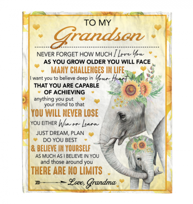 To My Grandson Never Forget How Much I Love You Elephant Sunflower Gift From Grandma Fleece Blanket