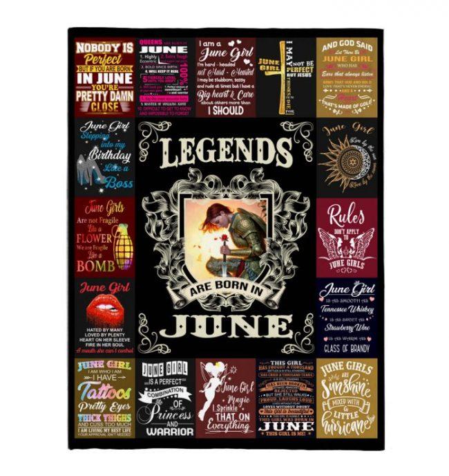 Legends Are Born In June Warrior Girl Birthday Gift Black Fleece Blanket