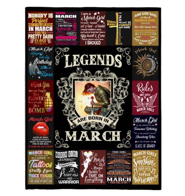 Legends Are Born In March Warrior Girl Birthday Gift Black Fleece Blanket