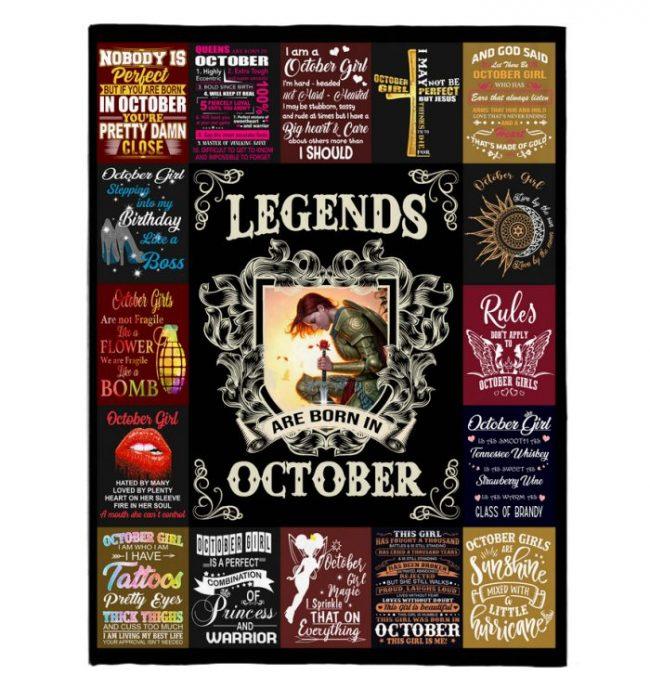 Legends Are Born In October Warrior Girl Birthday Gift Black Fleece Blanket